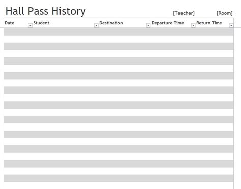 Hall Pass Template Pass Template