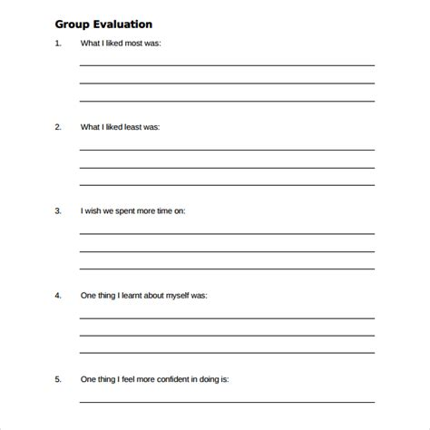 sle group activity evaluation template 6 free