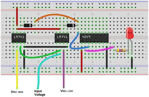 breadboard circuit design how to build a window comparator circuit