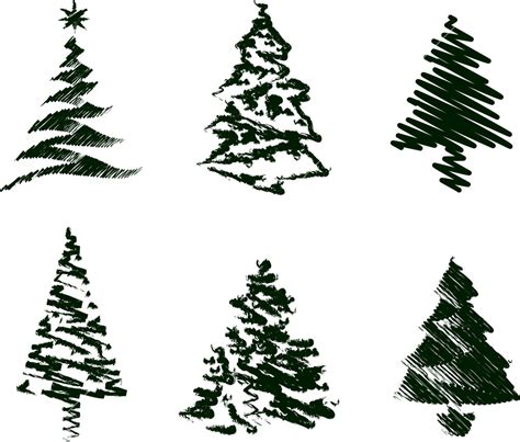 grungy christmas tree sketch set iii