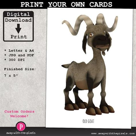 printable joke birthday cards old goat greeting card instant download printable pdf jpg