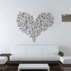 Art Wall Stickers Floral Love Heart Flowers Valentine Wall Art Stickers Wall