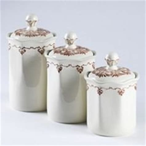 set of 3 white ceramic kitchen canisters