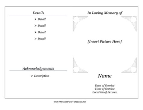 free memorial template search results for free funeral program template memorial
