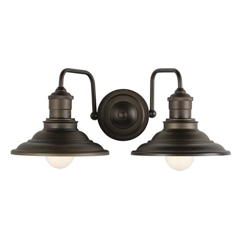 2 light bathroom fixture shop allen roth hainsbrook 2 light 7 in aged bronze cone