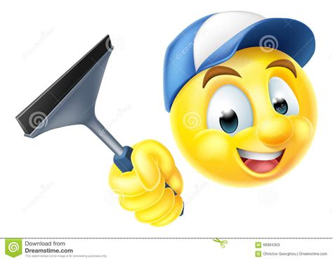 cleaning emoji cleaner emoji emoticon with squeegee stock vector image