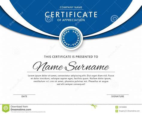 certificate template elegant blue color medal