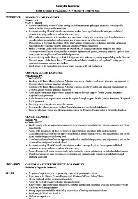 Claims Insurance Department Of Resume by Claims Examiner Resume Sles Velvet