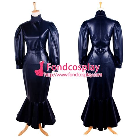 leather maids dress free shipping fetish faux leather dress sissy maid uniform