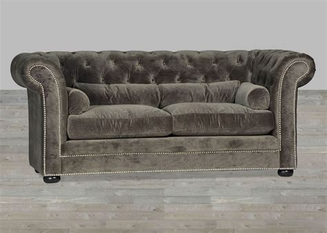 gray velvet sofa grey velvet sofa chesterfield style silver button tufted