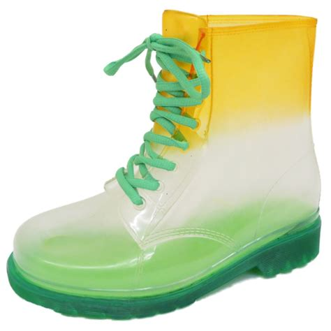 Jelly Clear Buy 1 Get 1 flat green clear festival jelly wellies lace up