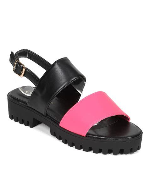 Two Slingback Flat Sandals - new liliana weezy 1 leatherette two tone lug sole
