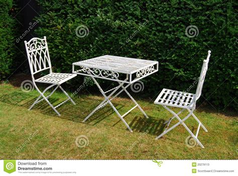 White Metal Garden Furniture Table And Two Chairs Stock White Metal Outdoor Furniture