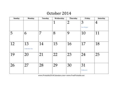 blank calendar template october 2014 printable october 2014 calendar