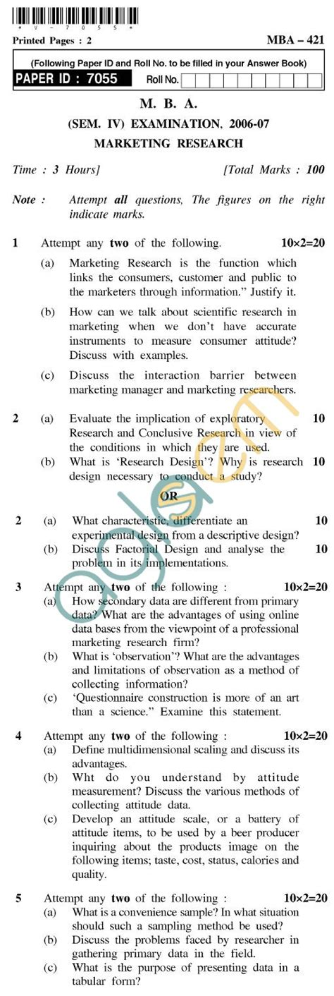 Uptu Mba by Uptu Mba Question Papers Mba 421 Marketing Research