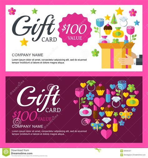 gift card flyer template vector coupon or voucher background template box with
