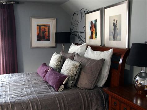 eggplant and grey bedroom a mans master bedroom contemporary bedroom
