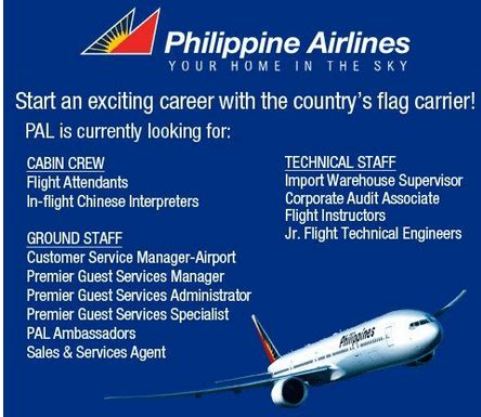 cabin crew hiring philippine airlines hiring for pal cabin crew and