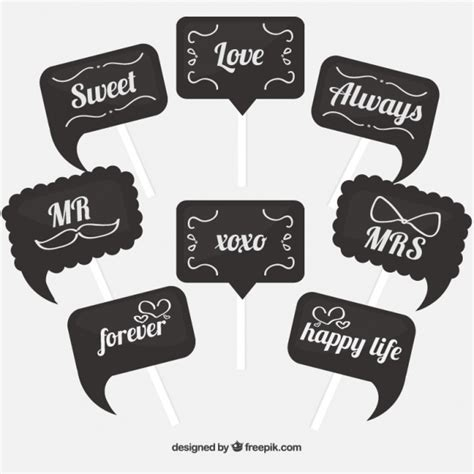 Great photo booth signs with different messages Vector