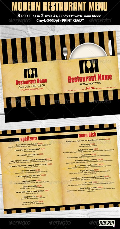 modern menu templates modern restaurant menu psd template graphicriver
