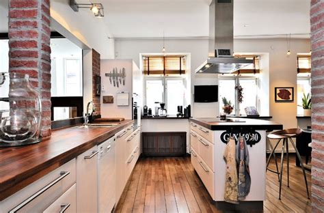 exposed brick wall kitchen