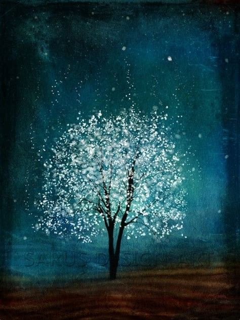 blue and white painting acrylic art white tree with a deep blue background so