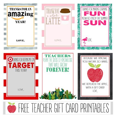 what is printable gift cards free teacher gift card printables crisp collective