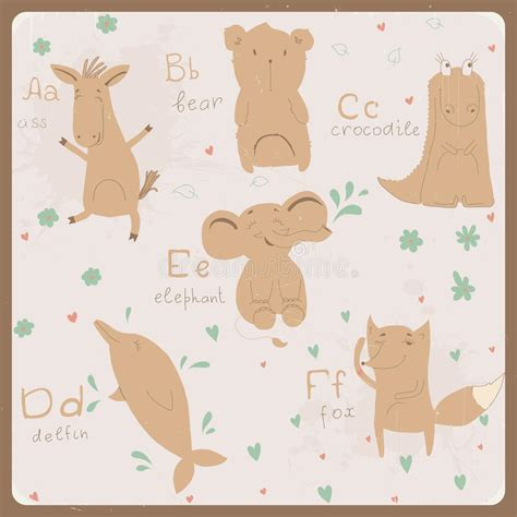 animals alphabet for a to f royalty free stock