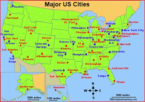 us map with top cities major cities in the usa enchantedlearning
