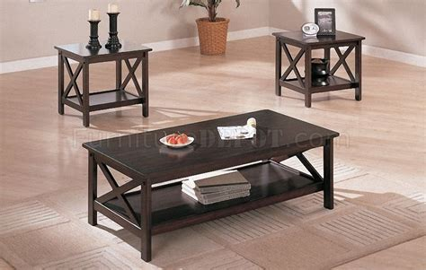espresso coffee table set espresso finish contemporary 3 coffee table set
