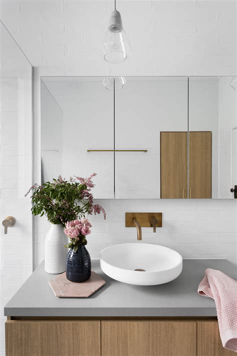 grey and white bathroom gray subway tiling in a serene pink white bathroom