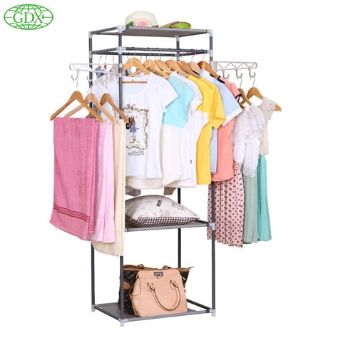 New Lemari Pakaian Multifunction Wardrobe Cloth Rack With Cover gdx 2pc in 1lot new multi functional adjustable square clothes hanger garment rack big load