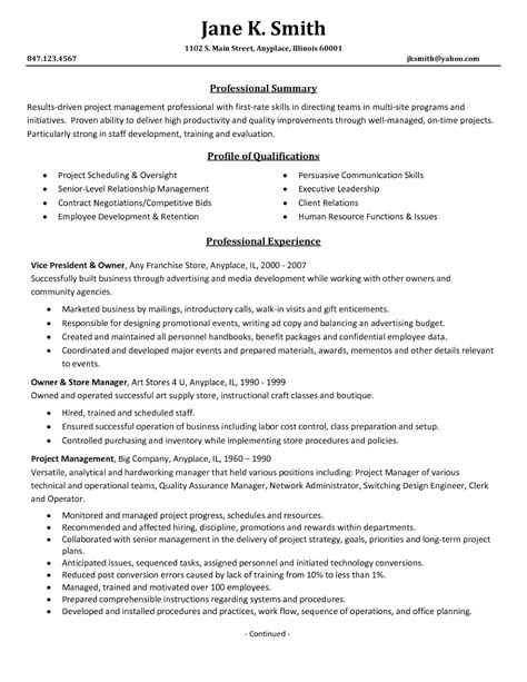 sample resume of a manager resume for study