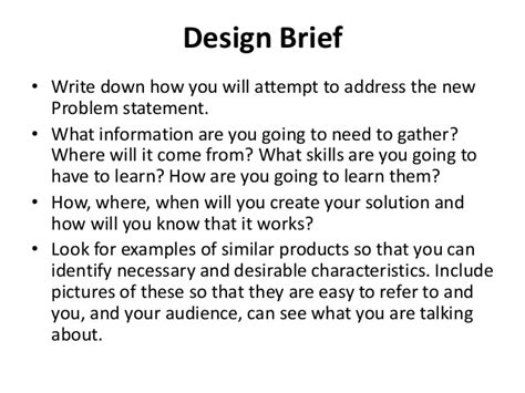 design brief exle for students design brief