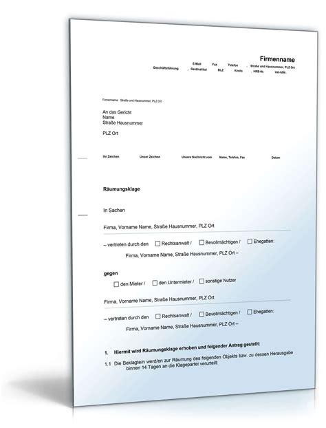 Muster Kündigung Mietvertrag Wien R 228 Umungsklage Mieter Vorlage Zum