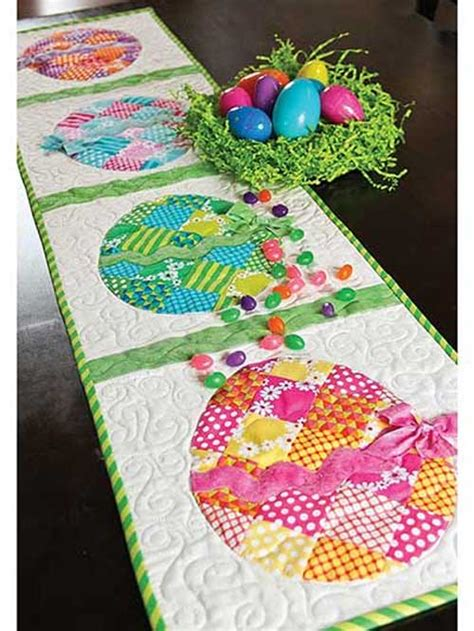 Quilted Easter Table Runner Pattern by Patchwork Easter Egg Table Runner Sewing Pattern