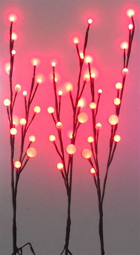Red Pink Blue 48 Led Ball Branch Of 3 Twig Lights 70cm Twig Lights