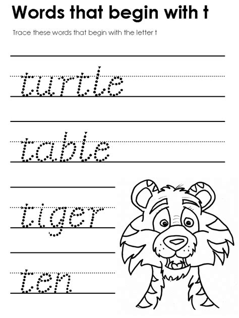 4 Letter Words Starting With T words that start with t preschool letter t