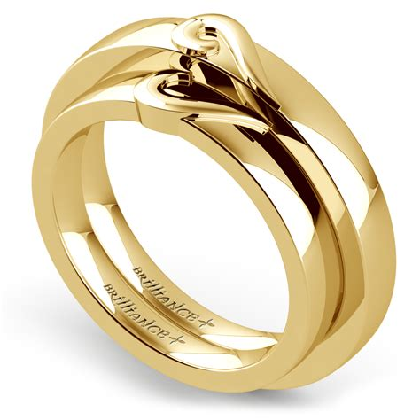 Wedding Rings In Gold by Matching Curled Wedding Ring Set In Yellow Gold