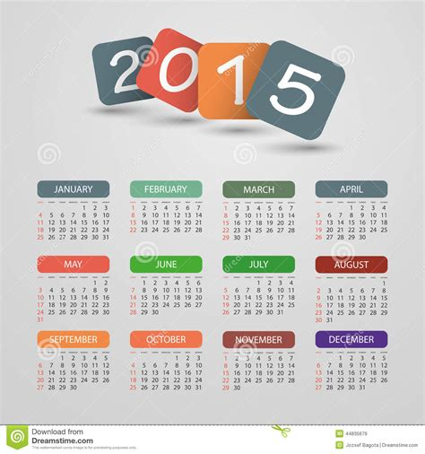 2015 calendar card template calendar 2015 vector illustration design stock vector