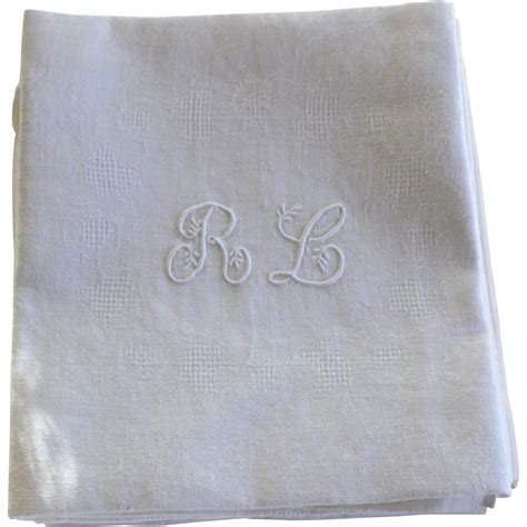 monogrammed linen napkins french antique linen monogrammed napkins r l set of 12 from julietjonesvintage on ruby lane
