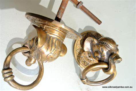 2 elephant pulls handles antique solid brass vintage