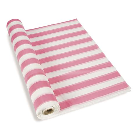 pink white striped tablecloth roll