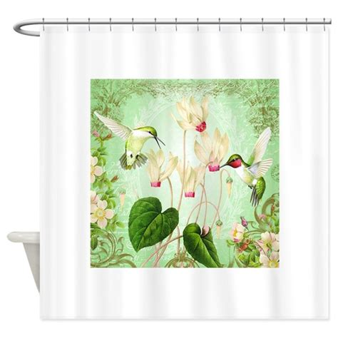 modern vintage curtains modern vintage french hummingbirds shower curtain by