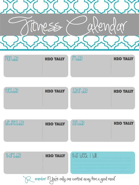 planning out the week fitness geekiness printable fitness calendar i made to track workouts water