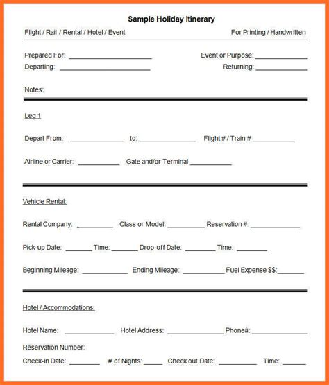 itinerary template word itinerary template word soap format