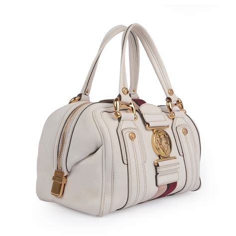 Gucci White gucci white leather aviatrix medium boston bag labelcentric