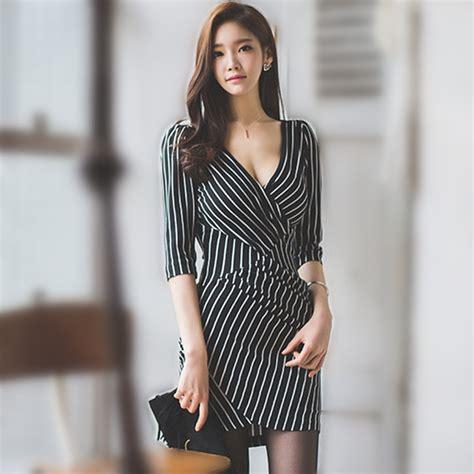 Baju Wanita Express V Neck 2016 musim panas gaya baru busana korea ganda v neck setengah lengan wanita gaun klub