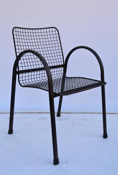 Patio Mesh Four Patio Wrought Iron Mesh Arm Chairs For Sale At 1stdibs