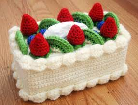 new free crochet pattern at michaels com chiffon cake tissue box cozy with fruit topping